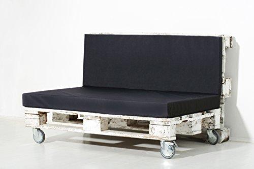 Palemare Palettenkissen Palettenpolster RG50 Nylon 120x80x15cm (Set: Sitzkissen + Rückenlehne) Indoor Outdoor Bezug Schwarz waschbar
