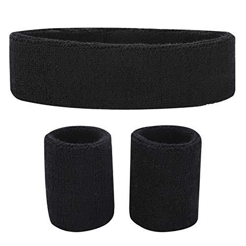 Fussox Schweißband Set Stirnband Sport Handgelenk und Kopf Schweissband Baumwolle Schweißbänder (Schwarz) -