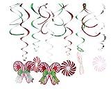 YeahiBaby Colgantes Espiral de Navidad en Forma de Caramelo 12 Piezas