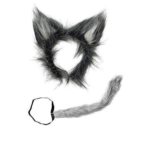 Wolf Kostüm Maske Weißer - Wolfsset aus Plüsch zweiteilig ( Wolfschwanz und Wolfsohren )