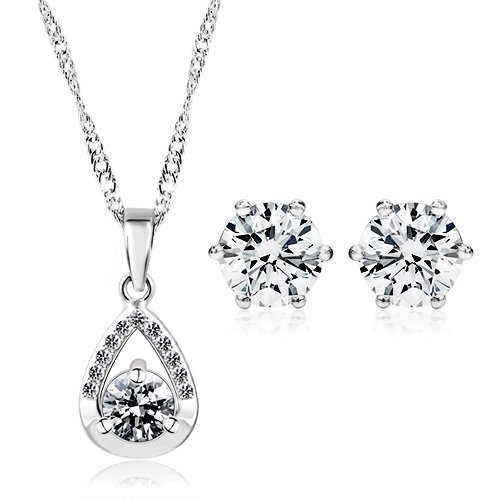925 Sterling Silver With Cubic Zirconia Solitaire Tear Drop Necklace & Earring Set For Women Bridesmaids Gift Present
