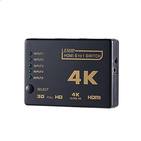 HDMI Commutateur LESHP Convertisseur Video Audio Full HD 1080P 4k 3D 3 Ports (5 Entrée 1 Sortie)Commutateur Hub avec Télécommande Infrarouge pour PS4 TV HDMI 1.4b Haute