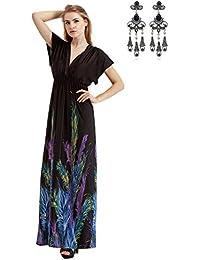MODETREND Mujer Bohemia Vestidos Largo Tallas Grandes de Deep V-Neck para Vacaciones Banquete Vestido de Playa