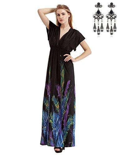 MODETREND Mujer Bohemia Vestidos Largo Tallas Grandes de Deep V-Neck para Vacaciones...