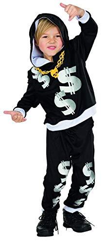 Rubie's Rapper Kostüm Größe 140 Kinder Karneval Pimp Prolet Hip Hop Fasching Ghetto Artist Bling Bling