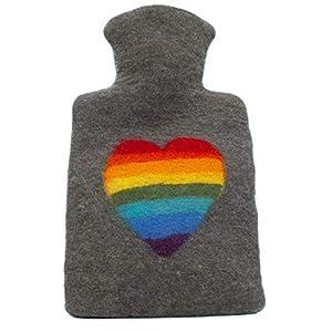feelz – Wärmflasche gefilzt Regenbogen Herz Filz Wolle (Merino) Wärmflaschenbezug – Handarbeit Fairtrade