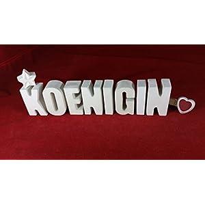 Beton, Steinguss Buchstaben 3 D Deko Schriftzug Namen KOENIGIN als Geschenk verpackt!