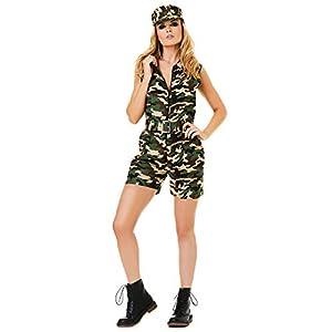 Karnival 81214 - Disfraz de camuflaje militar, para mujer, verde, tamaño mediano