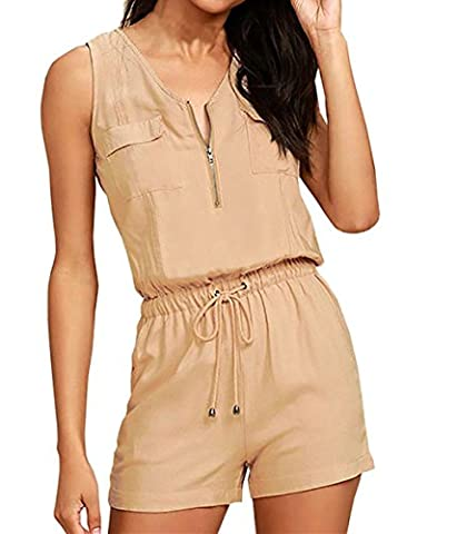 Art- und Weisefrauen-reizvoller Overall-Sleeveless Hosen (Khaki, XL)