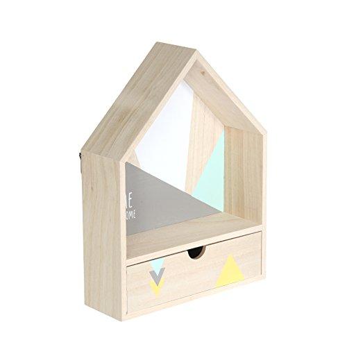 THE HOME DECO FACTORY Etagère avec Tiroir Forme Maison, Bois, Vert-Gris, 24 x 8 x 32 cm
