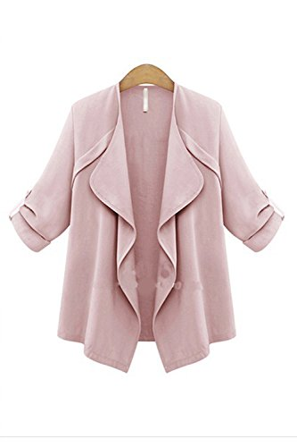 Les Femmes Élégantes Sans Col Ouvert Court Manteau Et Hérissant Menotté Devant La Taille pink