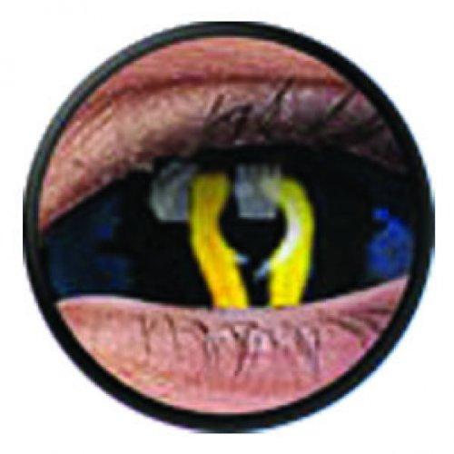 1 Paar Sclera XORN Kontaktlinsen linsen farbige schwarz blau vampir sklera mit Box dämon halloween kostüme ()