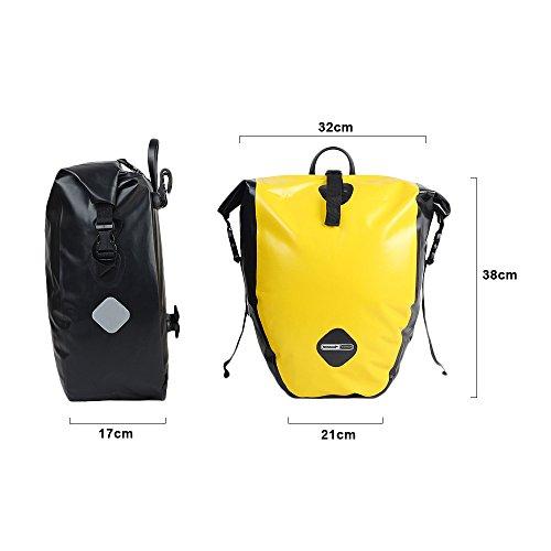 LKN Wasserfest 25L Fahrradtaschen Back-Roller Gepäckträgertaschen Anti-Riss Packtaschen Gelb-2 pieces