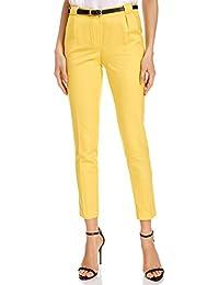 oodji Ultra Mujer Pantalones Clásicos con Cinturón en Contraste