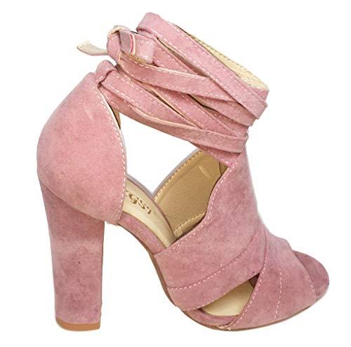 Authentic Damen Damen High Heel (Minetom Damen Riemchensandaletten High Heels Sandaletten Stiletto Party Schuhe Glitzer Elegante Abendschuhe B Pink EU 36)