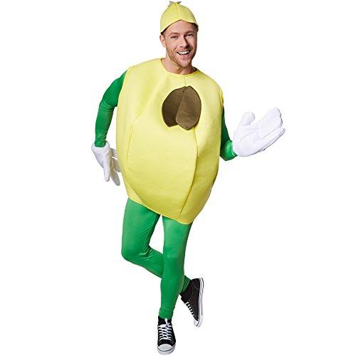 TecTake dressforfun Kostüm Zitrone Zitronenkostüm | Fruchtiges, ärmelloses Oberteil | Große, lustige Handschuhe | Inkl. Kopfbedeckung (M | Nr. ()