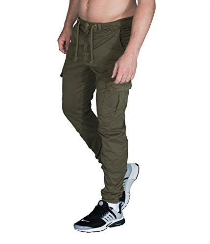 BetterStylz by UC OliBZ Cargo Chino Jogger Hose Army Style Seitentaschen Trainingshose div. Farben (S-XXL) (4XL, Olive) (Groß-sport-twill-hose)