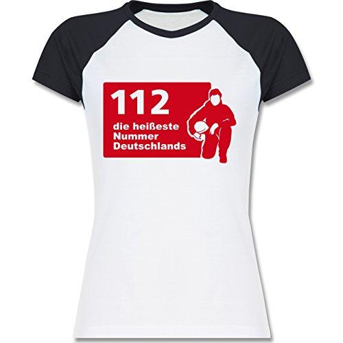 Feuerwehr - 112 die heißeste Nummer der Stadt - zweifarbiges Baseballshirt / Raglan T-Shirt für Damen Weiß/Navy Blau
