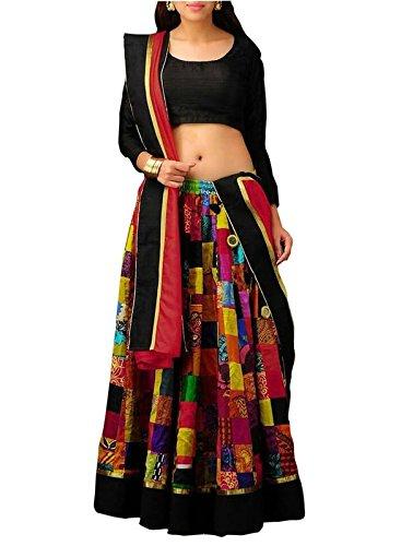 FebForrest Womens\'s Multi Silk Indo-Western Semi-Stitched Lahenga Choli (Free Size) [SL 31 (FF_M1)]
