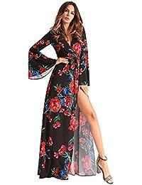 YAN Vestido de mujer Vestido de línea de una línea de Split Print Maxi V cuello