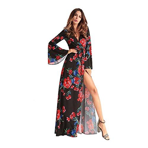Kleid der Frau Frauen A-Linie Kleid Split Print Maxi V-Ausschnitt Chiffon Druck Trompete Ärmel Unregelmäßige Mode lange Kleider Abend Satin Abendkleid ( Größe : XXL ) (Abend Schaufensterpuppe Kleid)