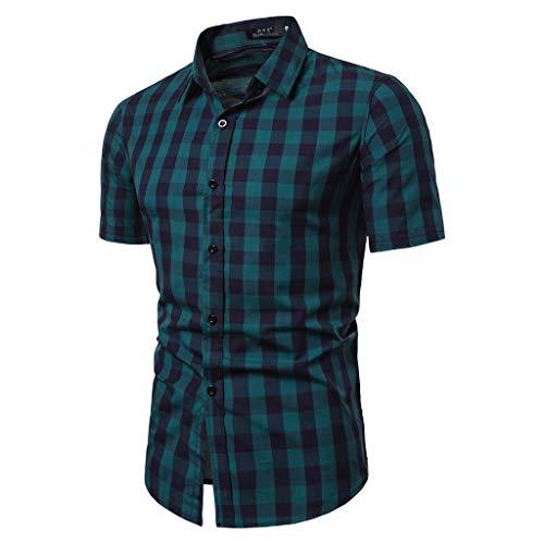 BHYDRY Herren Gitter Spleißen Muster Lässige Mode Revers Kurzarm Shirt - Gitter-Ärmel Pullover