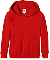 Fruit Of The Loom Boy's SS056B Long Sleeve Hoodie, Red, 7-8 Years (Manufacturer Size:30)