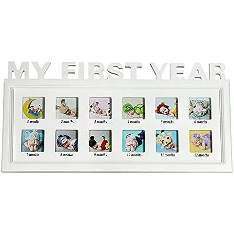 bojin My First Year Marco de fotos de bebé sin marco Collage de fotos de pared y mesa de madera), color blanco, Small, small