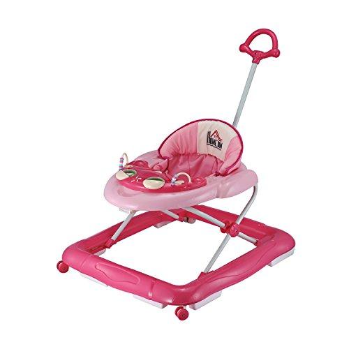 Homcom® Lauflernhilfe Laufhilfe Gehhilfe für Baby Gehfrei Babywalker höhenverstellbar (Rosa)