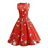 Weihnachten Kleider, GJKK Damen Frauen Santa Elch Gedruckt Festlich Kleid O-Ausschnitt Abendkleid Swing Kleider Spitzenkleid Partykleider (RotC, S)