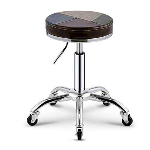 DONGYUER Lift Bar Stool Adjustable Swivel Bar Chair Large Round PU Leather Backless Seat Mit Chrome Plated Footrest Und Base,B - Chrome Base Bar Tisch