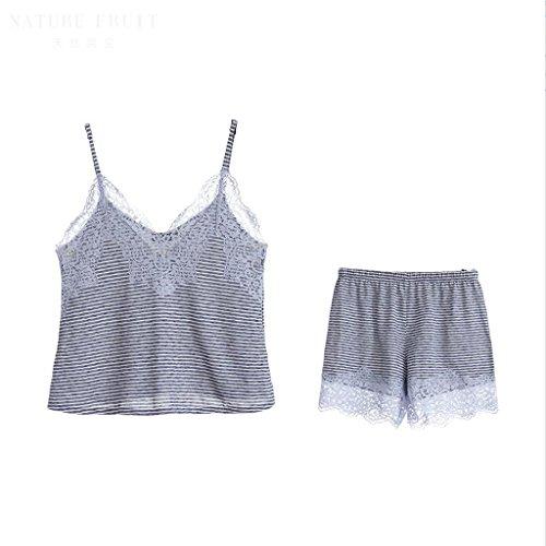 Sommer Süße Spitze Sexy Rock Tiefes V Nachthemd Mode Komfortable Mädchen Hause Pyjamas Kleid (Schlafanzug + Shorts) ZLR (Farbe : Blau, größe : L)