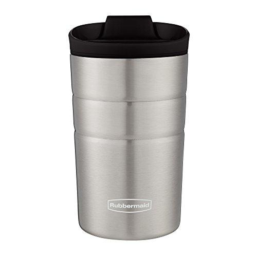 Rubbermaid Flip Lid 10oz Black Stainless Steel Insulated Leak-Proof Travel Mug - Leak-proof Insulated Travel Mug