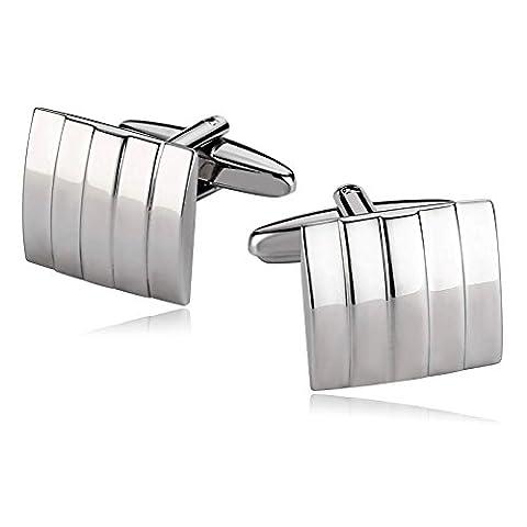 AMDXD Jewelry Stainless Steel Cufflinks for Men Square Stripe Silver Cuff Links 1.7X1.5CM