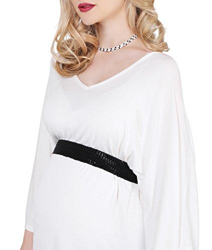 KRISP® Femmes Tunique Loose Manche Chauves- Souris avec Ceinture Collection Maternité Crème