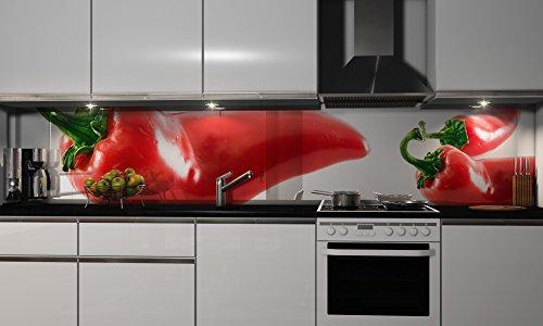 Küchenrückwand-Folie Chili Klebefolie Spritzschutz Küche Fliesenspiegel Möbel Rückwand selbstklebend | mehrere Größen | DIY