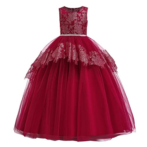 Livoral Kinder Mädchen Lang Bronzing Print Gaze Prinzessin Pageant Gown Party Abendkleid(Rot,13-14 Jahre)