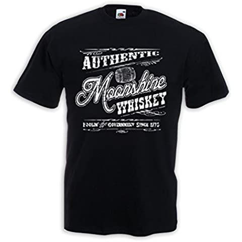 Booze Maglietta Authentic Moonshine Whiskey Rockabilly Biker Vintage