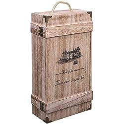 woodluv Vintage en Bois, Double Bouteille de Vin ou de Champagne Coffret Cadeau avec poignée intégrée