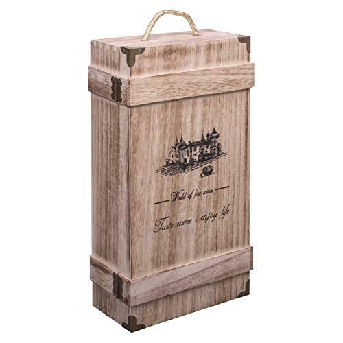 Woodluv - Caja Regalo asa integrada Botellas Vino