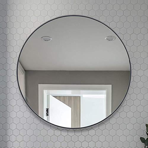 Bad-Wandspiegel selbstklebender runder hängender Spiegel Nordic Vanity Mirror Large aus Edelstahl (Farbe: Silber, Größe: XL)