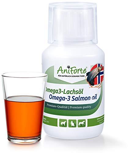 AniForte Omega-3 Lachsöl 100 ml für Katzen, Hunde und Pferde, Kaltgepresst, Reich an EPA, DHA und ALA Fettsäuren, Natur Pur, Barf Ergänzung