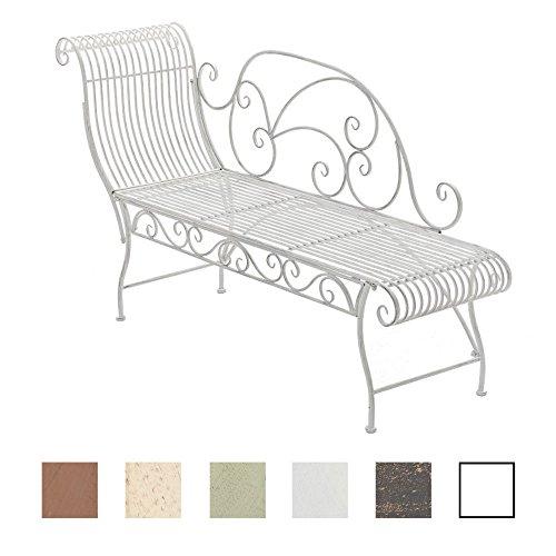 CLP Eisen-Gartenbank PARTOGUS I Recamiere mit kunstvollen Verzierungen I Stabile Sonnenliege aus Eisen I erhältlich Antik Weiß