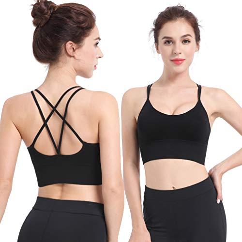 TENDYCOCO Sport-BH für Frauen Komfort Gepolstert Nahtlose High Impact Unterstützung für Yoga-Fitness-Workout Fitness - Schwarz S - 3