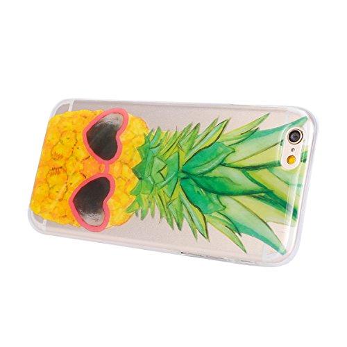 iPhone 6S Hülle,iPhone 6 Hülle,SainCat iPhone 6/6S Silikon Hülle Tasche Handyhülle Datura Blume Retro Muster Schutzhülle [Kratzfeste, Scratch-Resistant] Transparent TPU Gel Case Bumper Weiche Crystal  Gläser Ananas