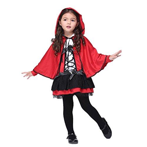 üm Set Gothic Riding Hood, Kostüm Damen Karneval rot/weiß (Halloween Paar-kostüm-ideen Selbstgemacht)