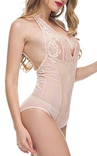 BMAKA Spitze Bodysuit Spitzenbody Damen Reizwäsche Nachtwäsche (Medium, Nackte Rosa)
