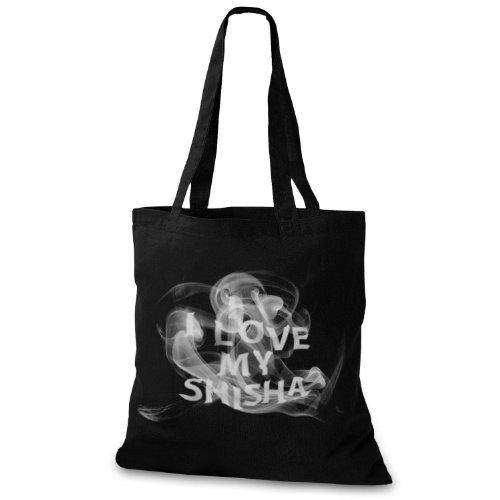 StyloBags Jutebeutel / Tasche I love my Shisha Schwarz
