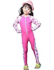 sfghouse bañadores de manga larga protección sol, diseño de una pieza para niños y niñas edad 3–9years, Infantil, rosa, large