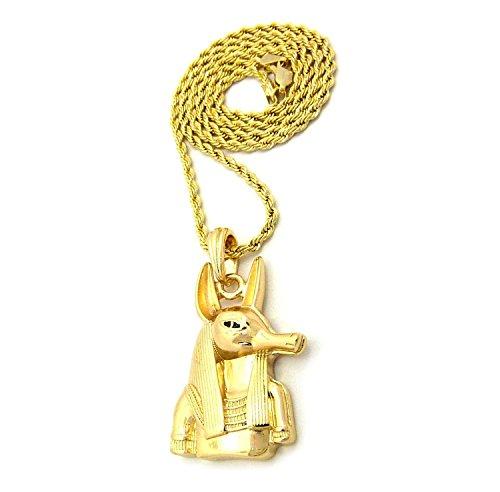 Ägypten Outfits (Herren Vergoldet Anubis Ägypten Hund Gottes Anhänger Eisen Seil Kette 3mm 76,2cm Hip Hop Bling)